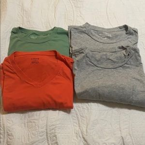 Four men's J. Crew t-shirts